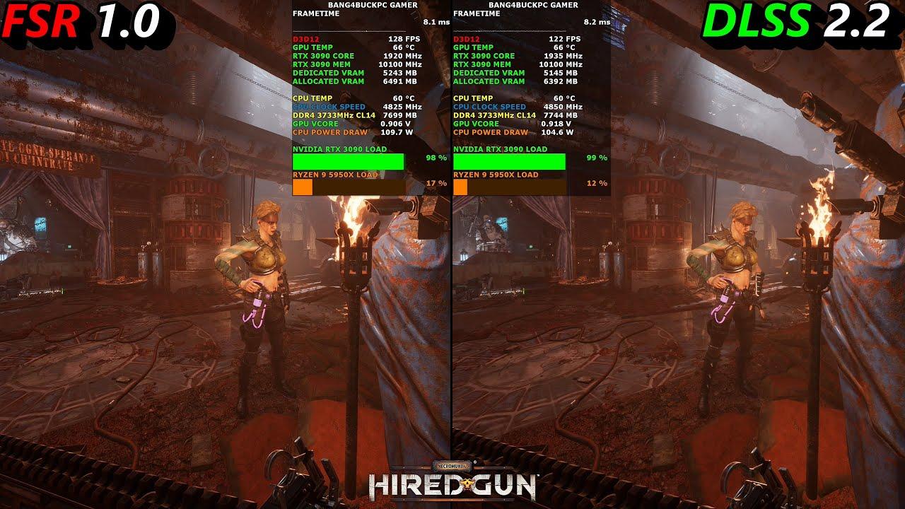 Сравнение DLSS и FSR — в Avengers технология AMD хуже, в Necromunda сопоставимый результат