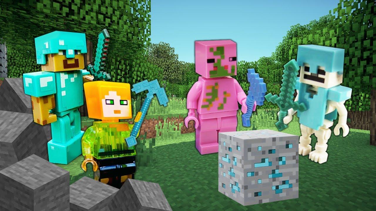 Видео игры Minecraft — Стив и Алекс против мобов Майнкрафт Лего! — Игры битвы онлайн. Видео обзор