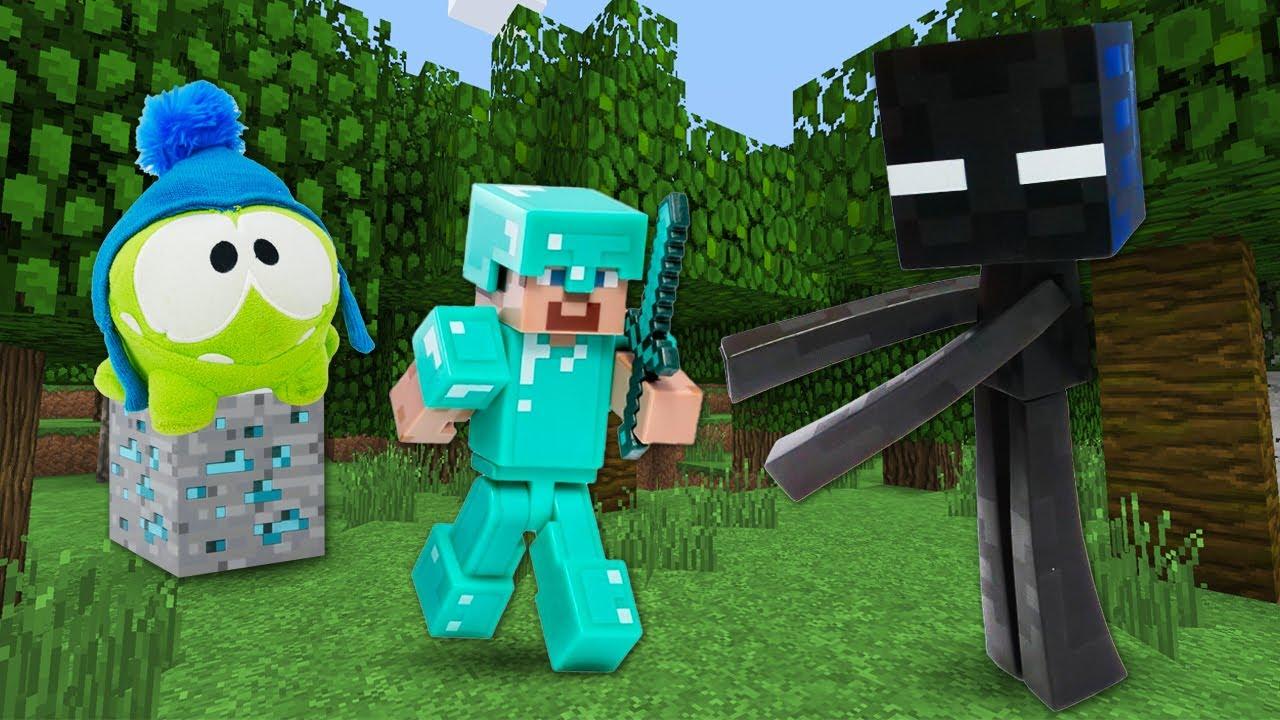 Видео обзор игр – Стив Майнкрафт Лего и Ам Ням в Minecraft! – Игры битвы с мобами Майнкрафт