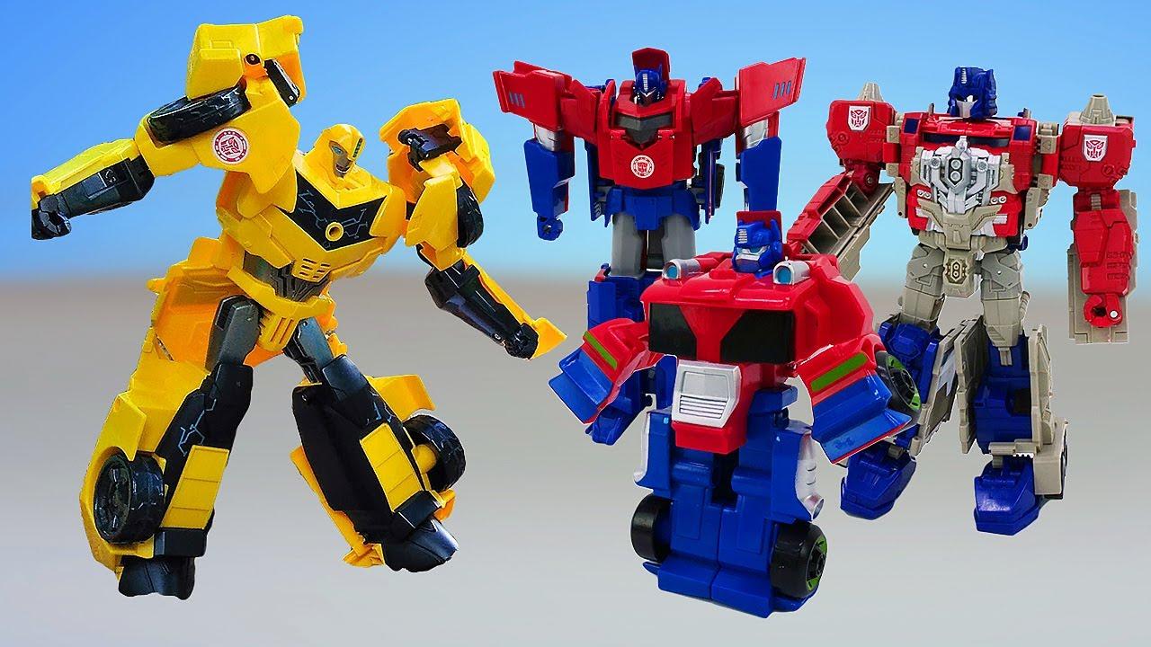 Роботы Трансформеры — Оптимус Прайм и Бамблби против Десептиконов! — Сборник видео игры битвы онлайн